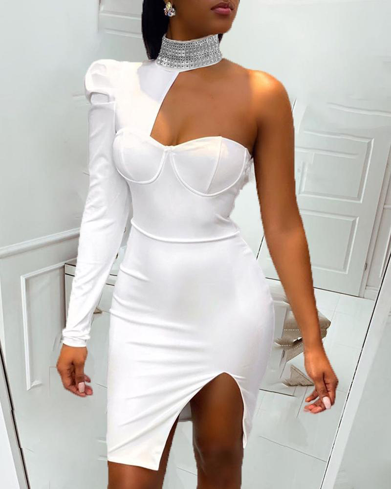 One Shoulder Slit Sequins Bodycon Dress, White
