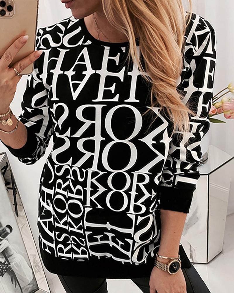 chicme / Blusa informal de manga larga con cuello redondo y estampado de letras