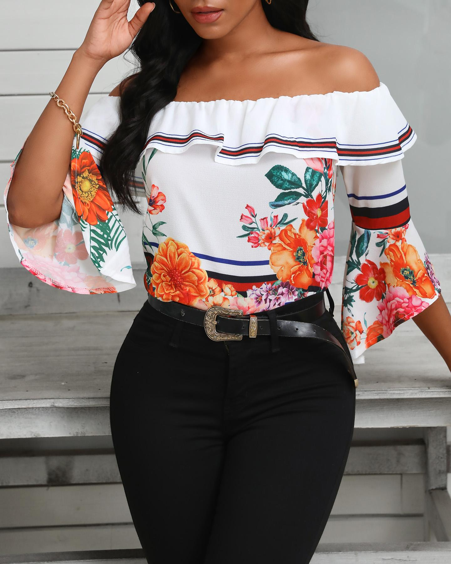 Off Shoulder Bell Sleeve Floral Print Ruffles Blouse фото