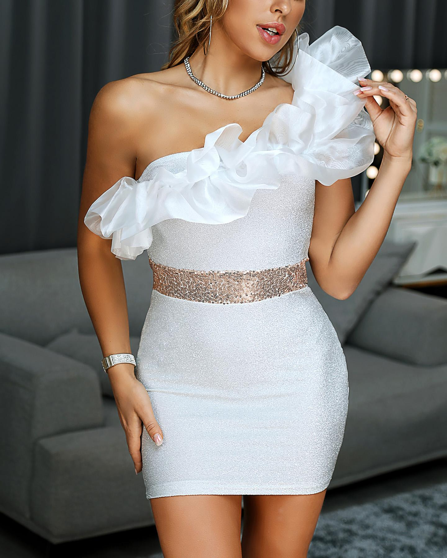chicme / Ruffles Patchwork Ruched One Shoulder Bodycon Dress