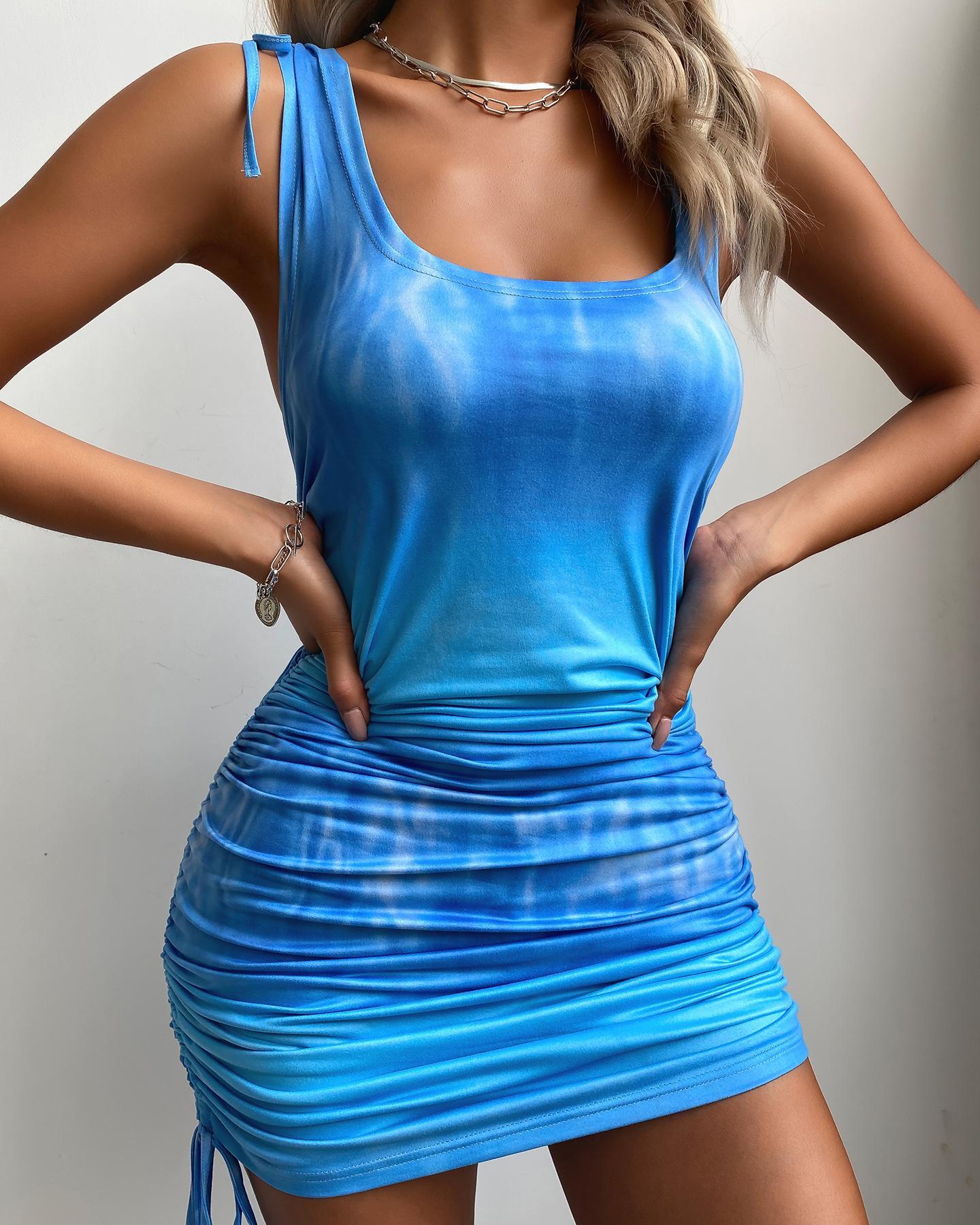 Tie Dye Print Drawstring Ruched Bodycon Dress фото