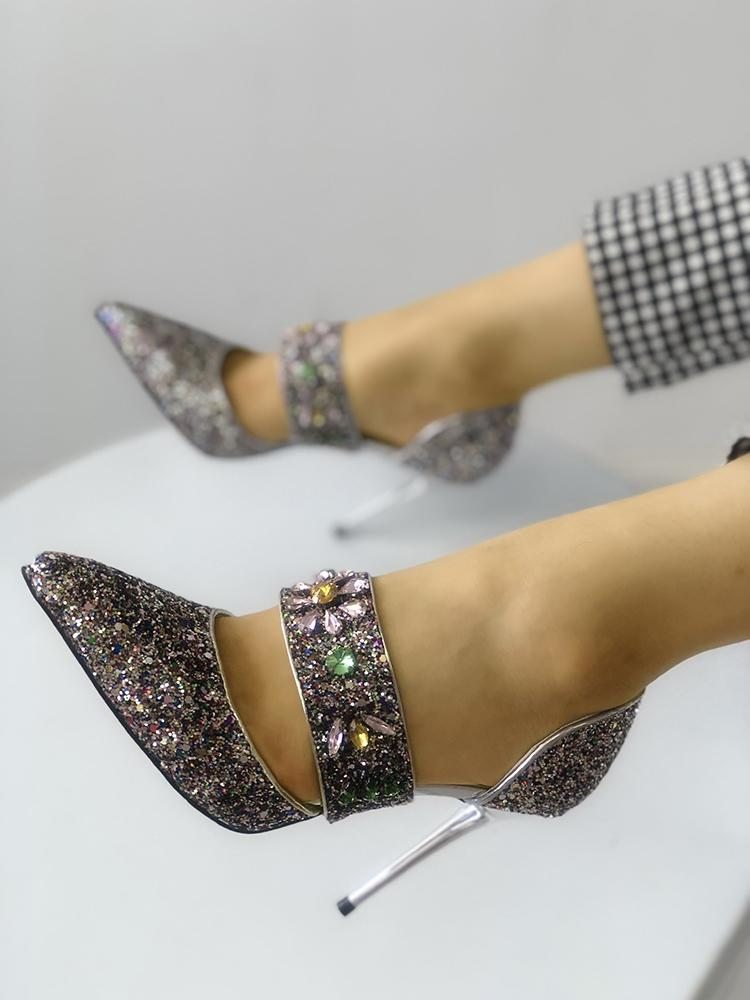 Sequins Embellished Multi-way Pointed Toe Thin Heels