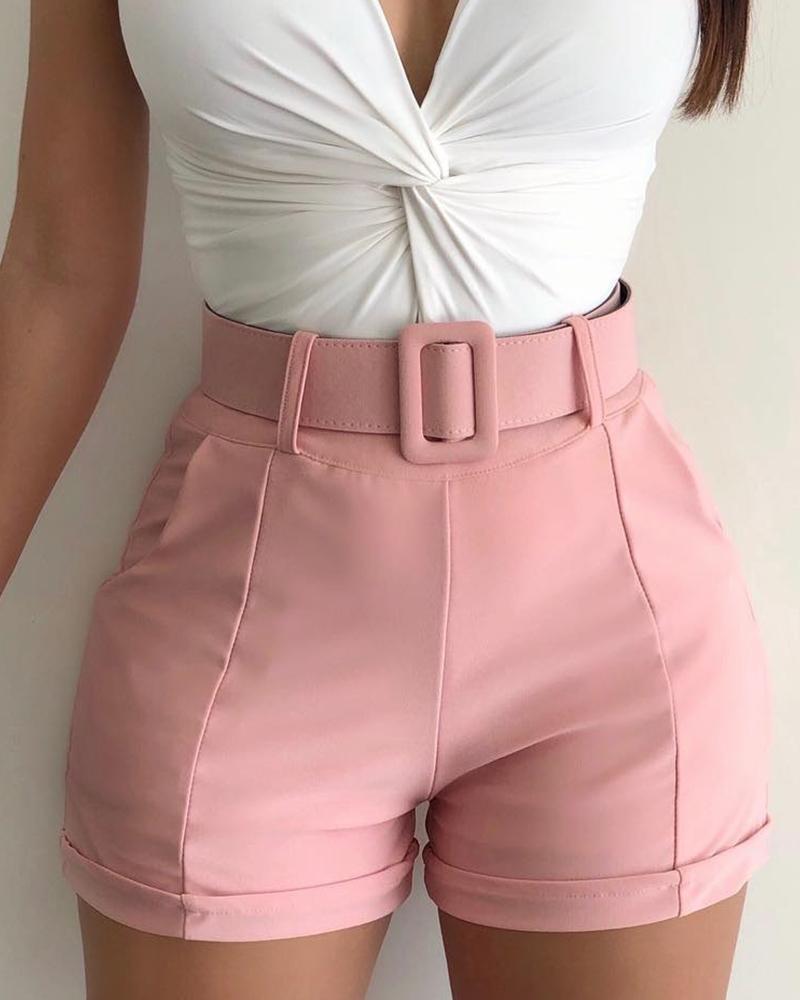 boutiquefeel / Pantalones cortos casuales sólidos de cintura alta