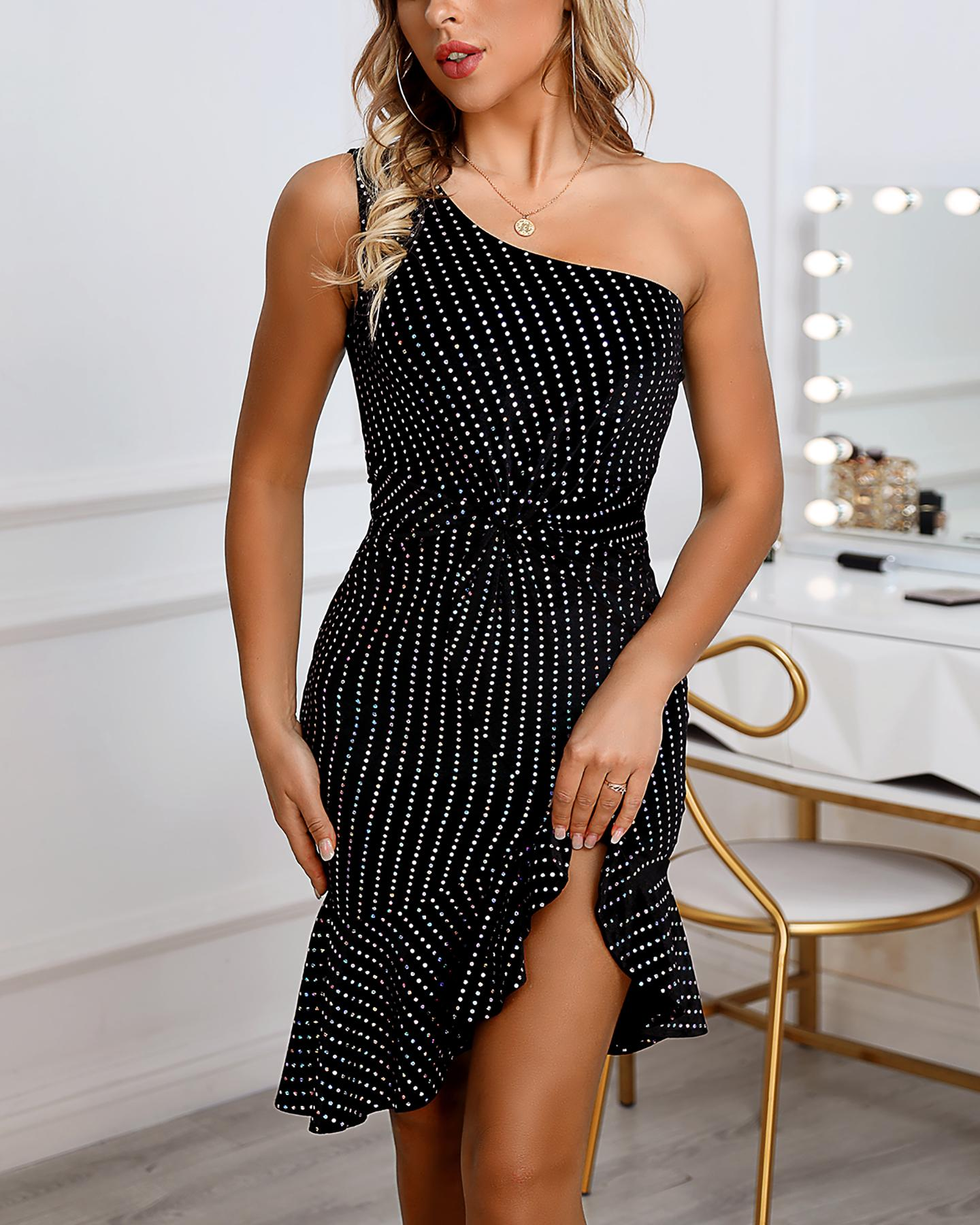 One Shoulder Striped Ruffled Slit Party Dress фото