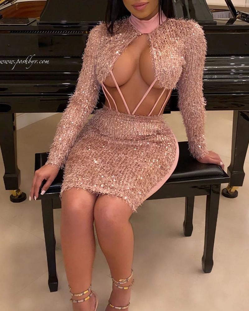 chicme / Vestido de fiesta recortado de lentejuelas esponjosas
