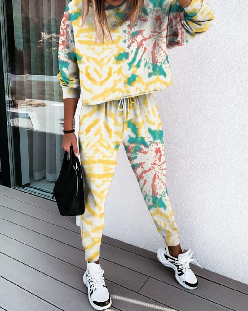 Tie Dye Floral Print Top & Drawstring Pants Set фото