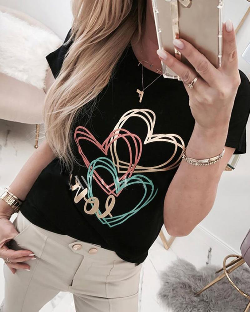 Heart Print Round Neck Casual T-shirt фото
