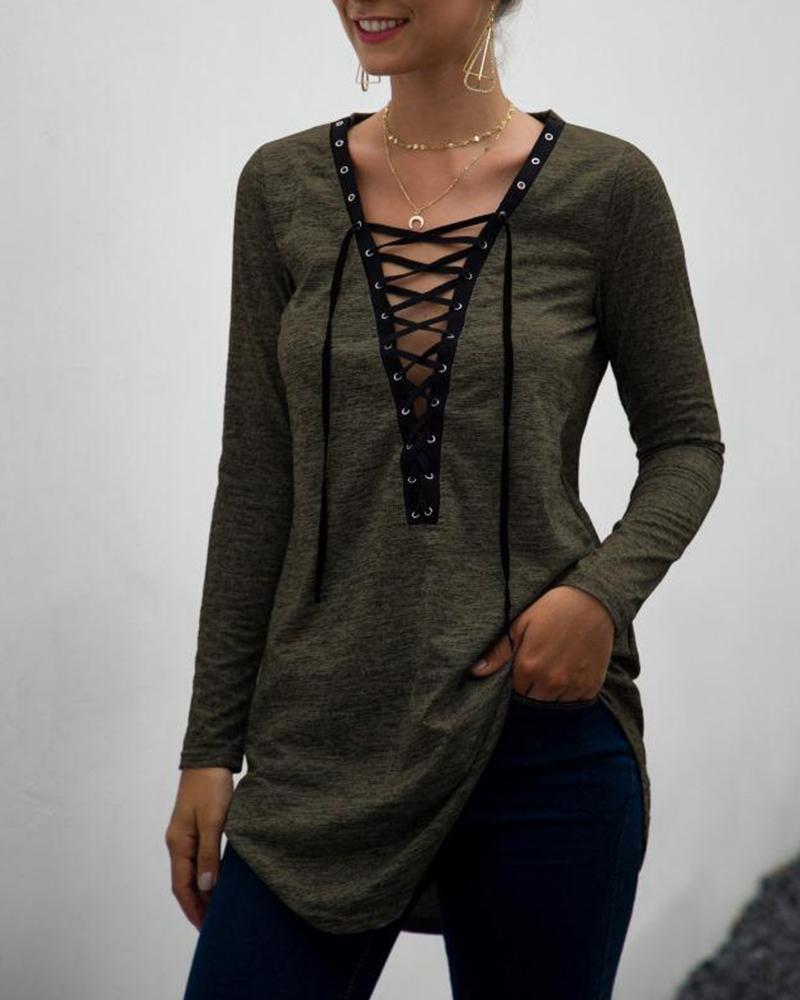 Deep V Front Lace-Up Top, Army green
