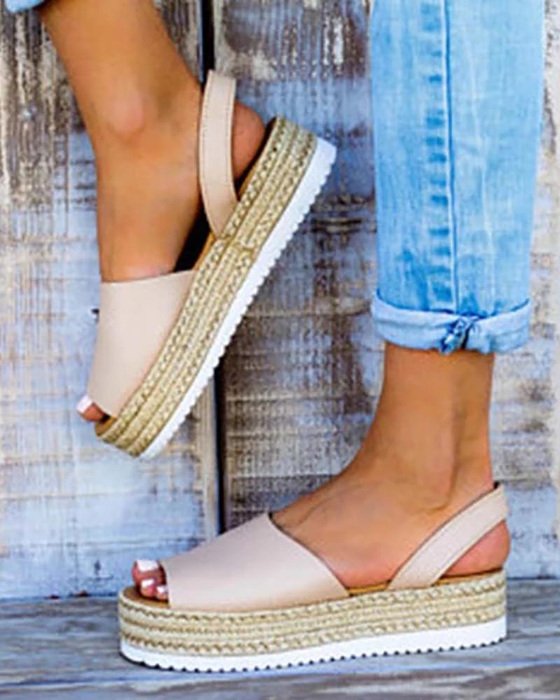 Peep Toe Slingback Espadrille Platform Sandals, Pink