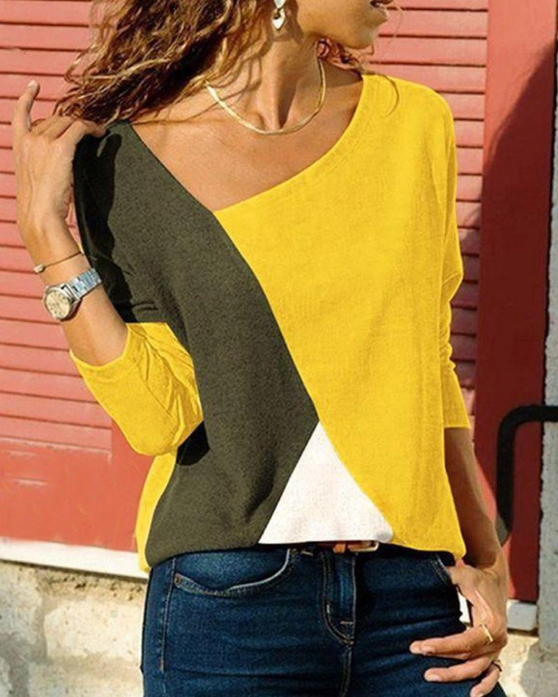 Tricolor Colorblock Long Sleeve Top фото