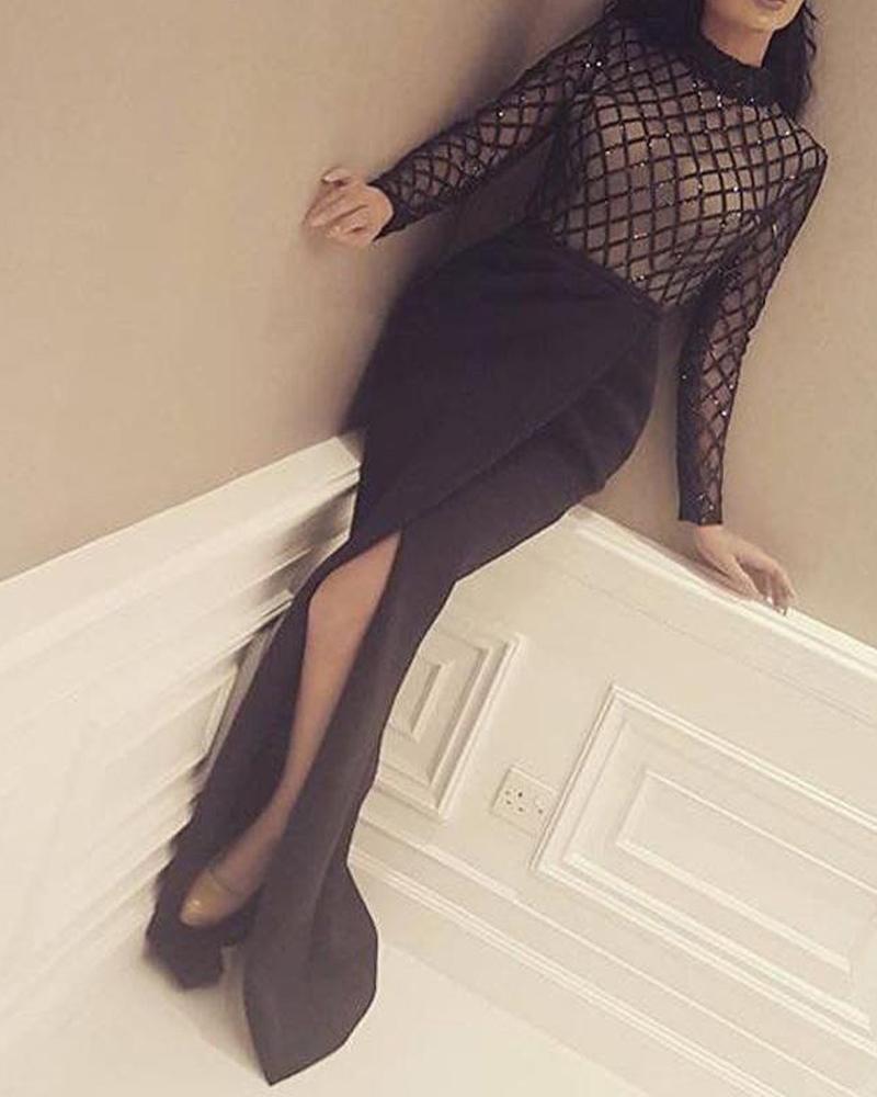 Embellished Maxi Mesh Evening Dress фото