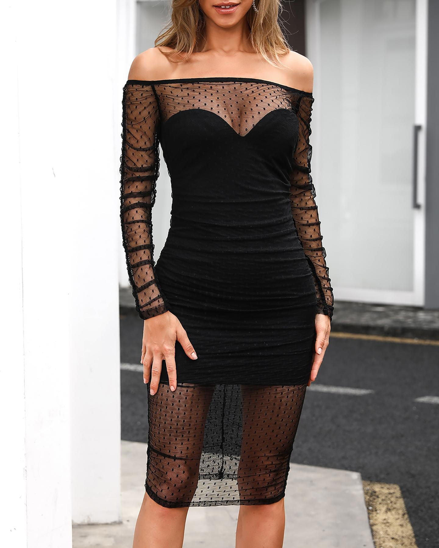 ivrose / Off Shoulder Dot Mesh Ruched Bodycon Dress