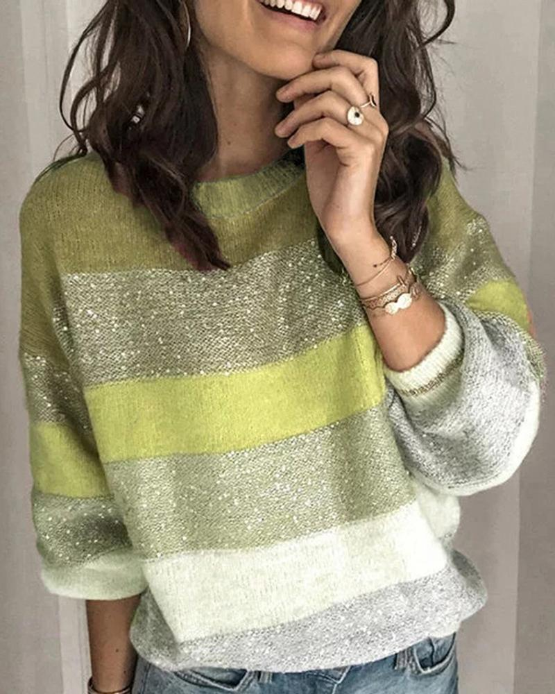 Round Neck Colorblock Long Sleeve Knitting Sweater, Green