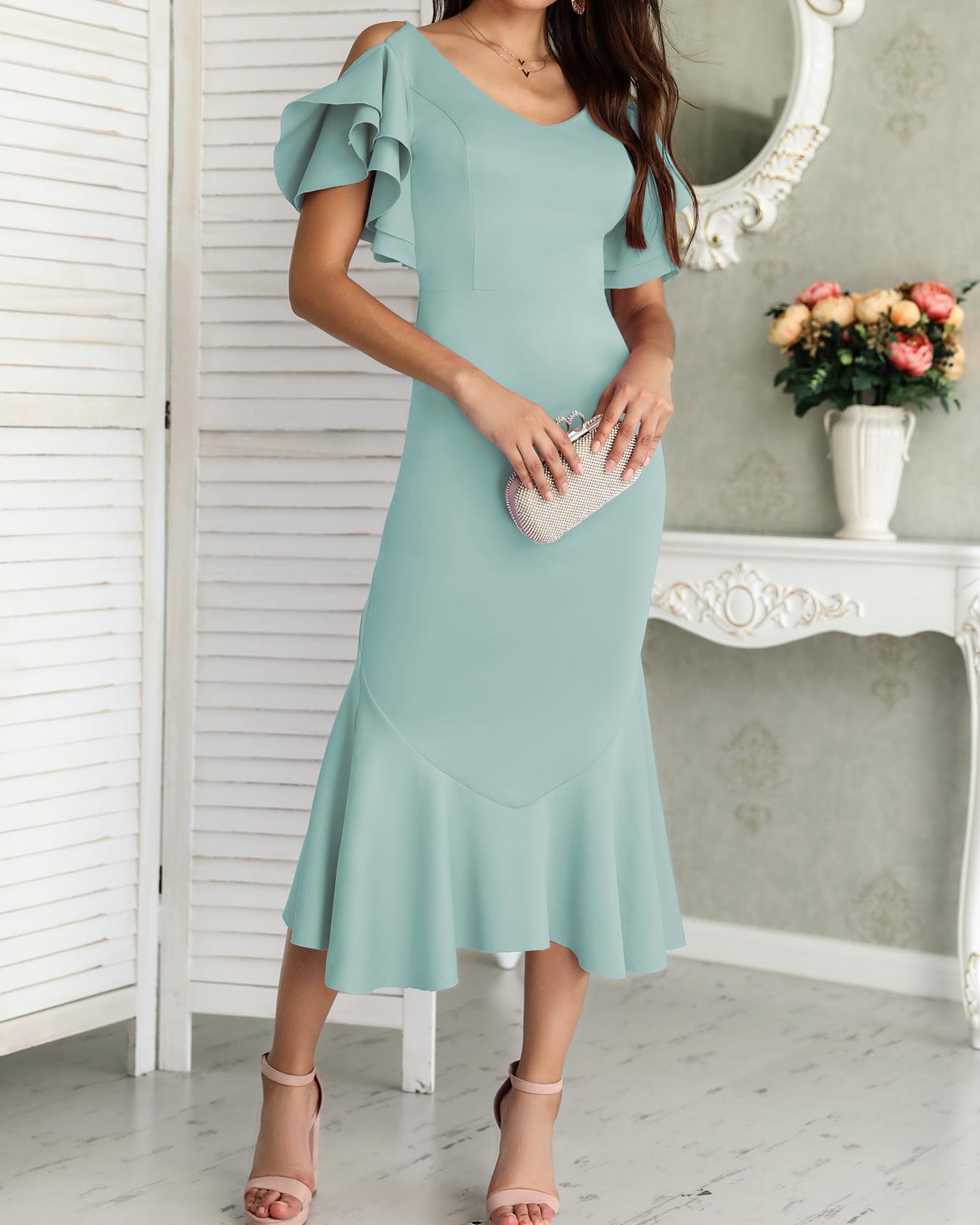 Solid Ruffles Backless Fishtail Maxi Dress фото