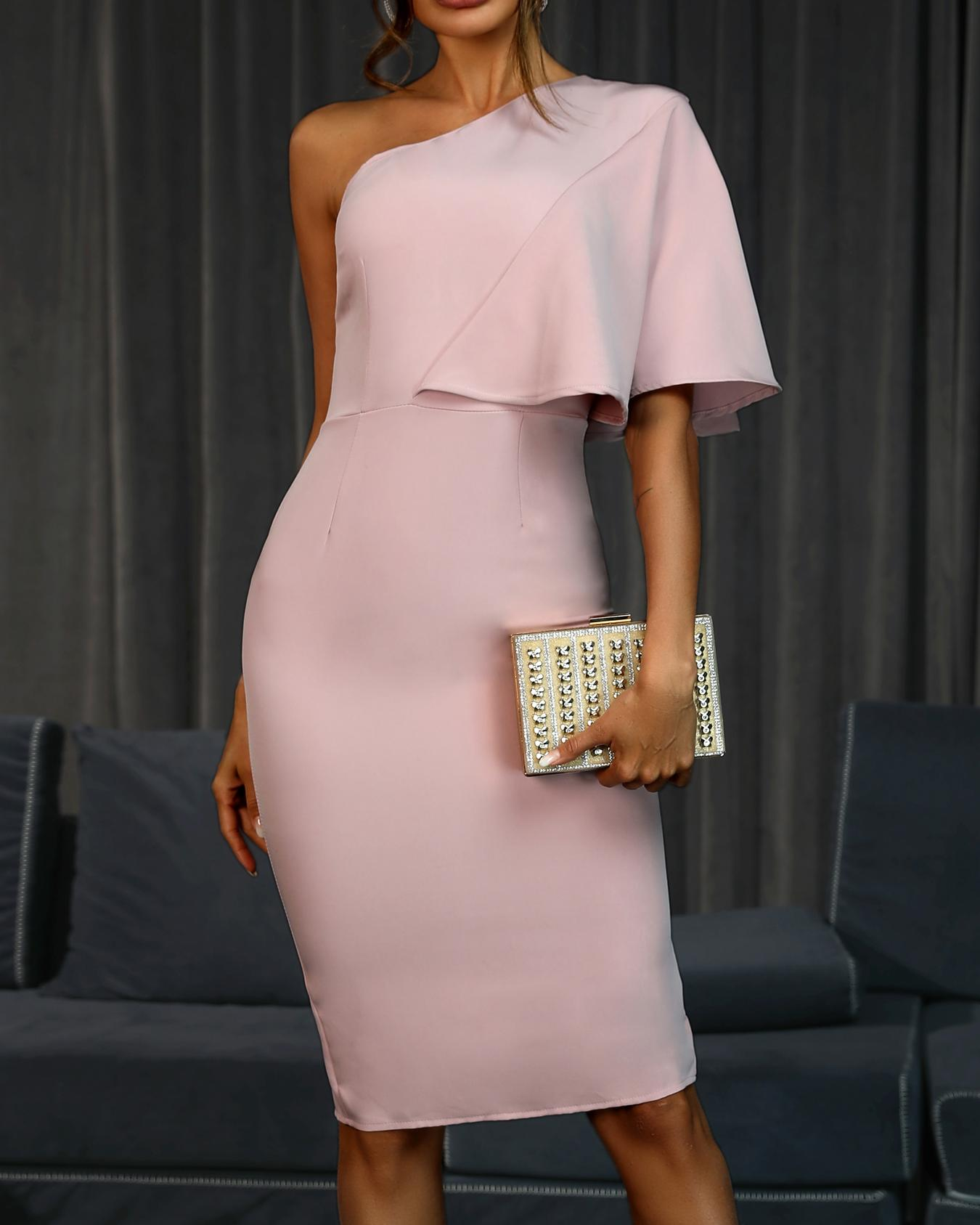 Solid One Shoulder Cape Bodycon Dress, Pink