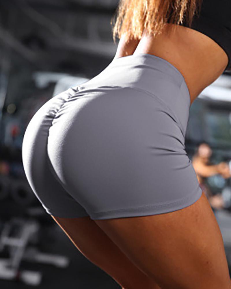 chicme / Pantalones cortos deportivos con pliegues y cintura alta sólidos