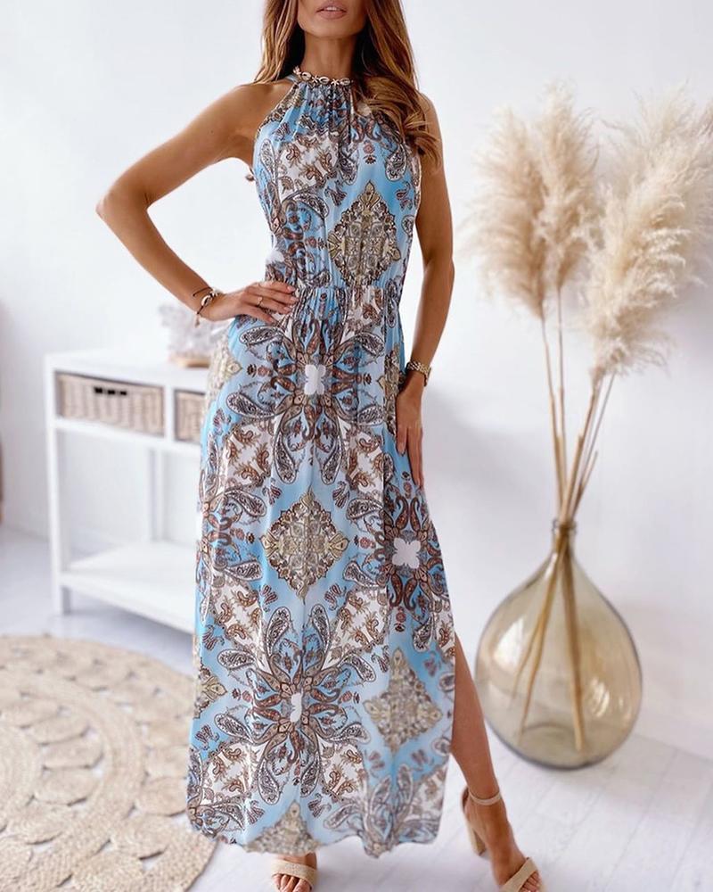 Baroque Print Sleeveless High Slit Maxi Dress фото