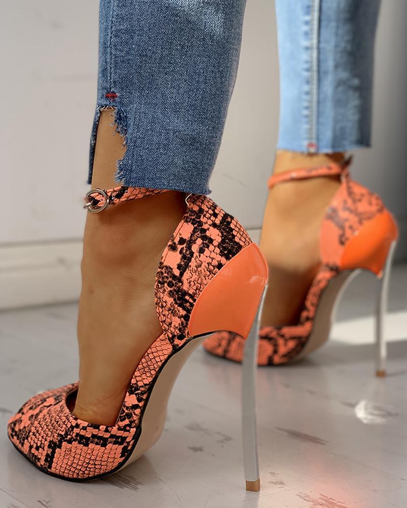 PU Snakeskin Print Peep Toe Thin Heels, Orange