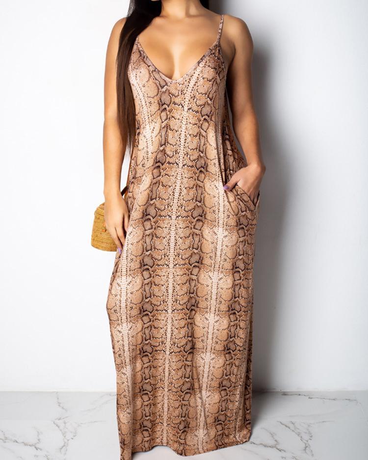 boutiquefeel / Vestido largo con estampado de piel de serpiente con correa de espagueti