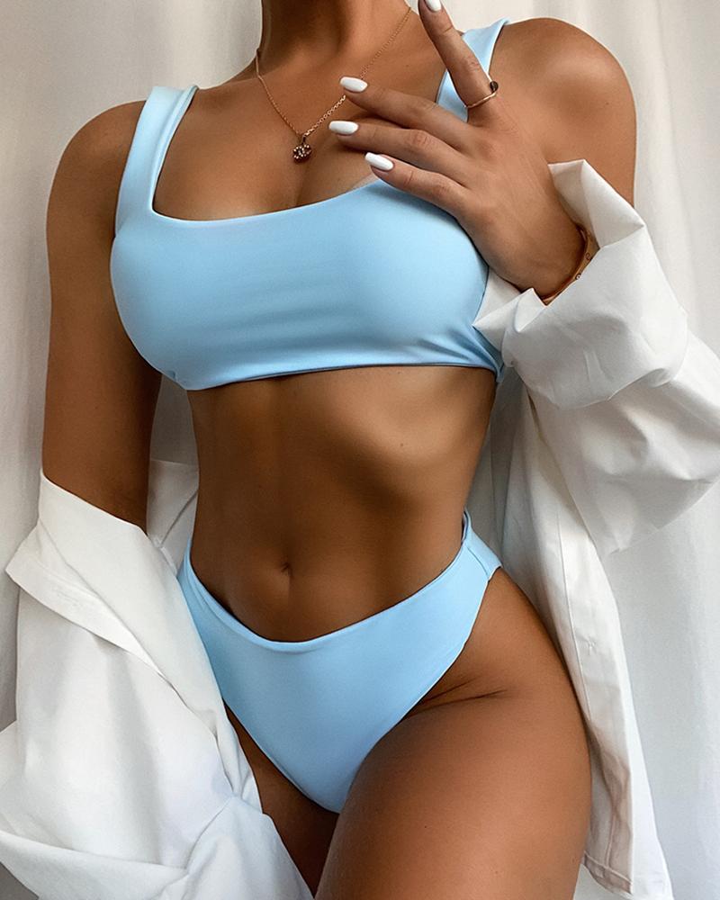 Solid Thick Strap High Waist Padded Bikini Set фото