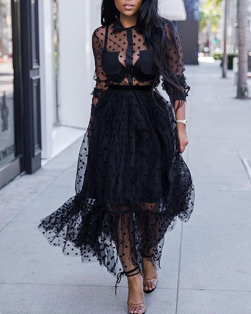 Long Sleeve Dots Sheer Mesh Dress фото