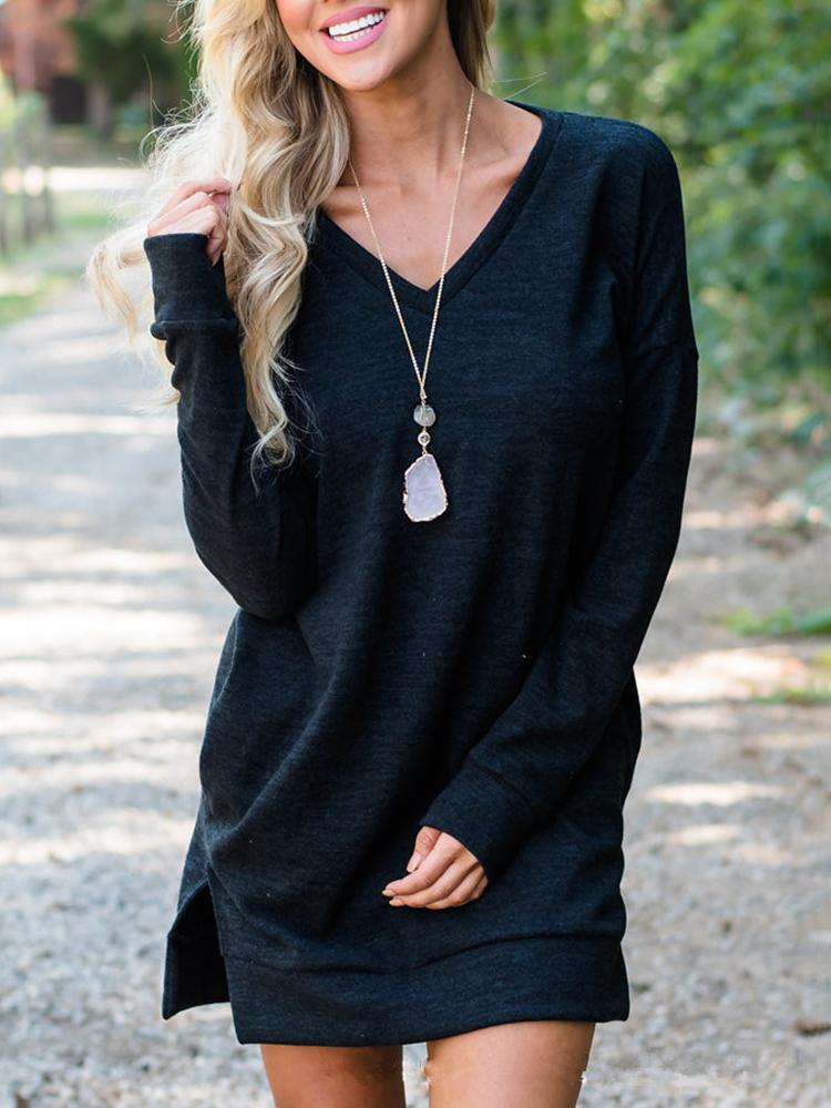 Solid Color Slit Sports Mini Dress - Black