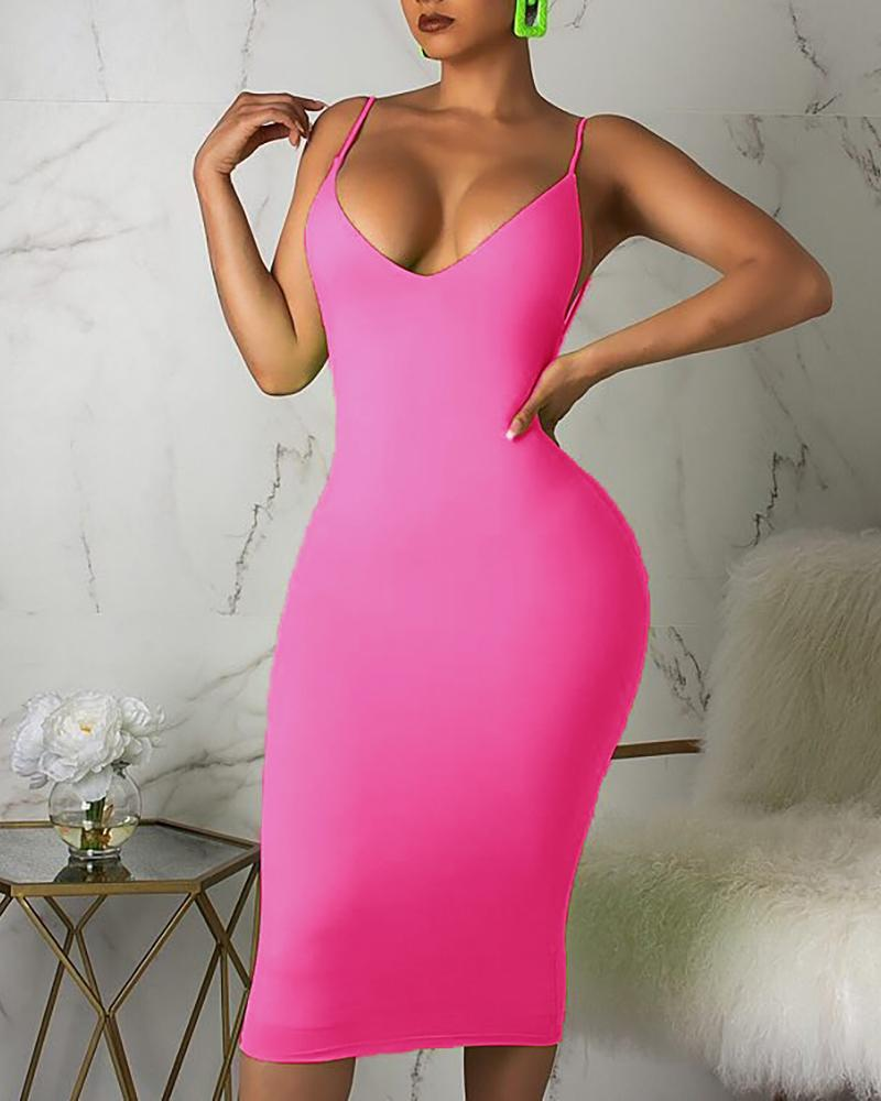 Twisted Open Back Spaghetti Strap Bodycon Dress