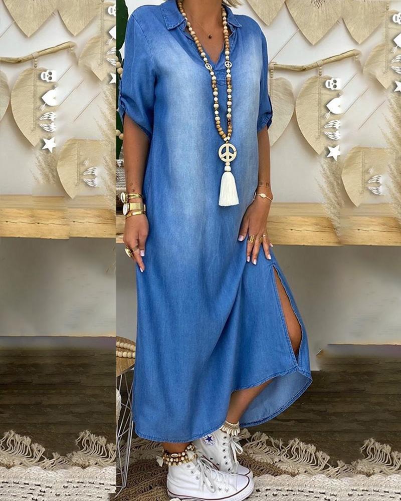 Half Sleeve Slit Hem Casual Maxi Dress фото