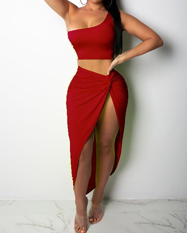 One Shoulder Crop Top & Skirt Set