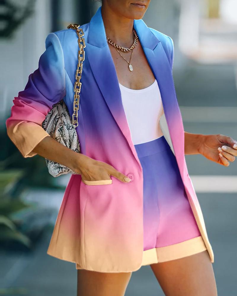 Image of Colorblock Buttoned Pocket Design Blazer Coat & Shorts Sets