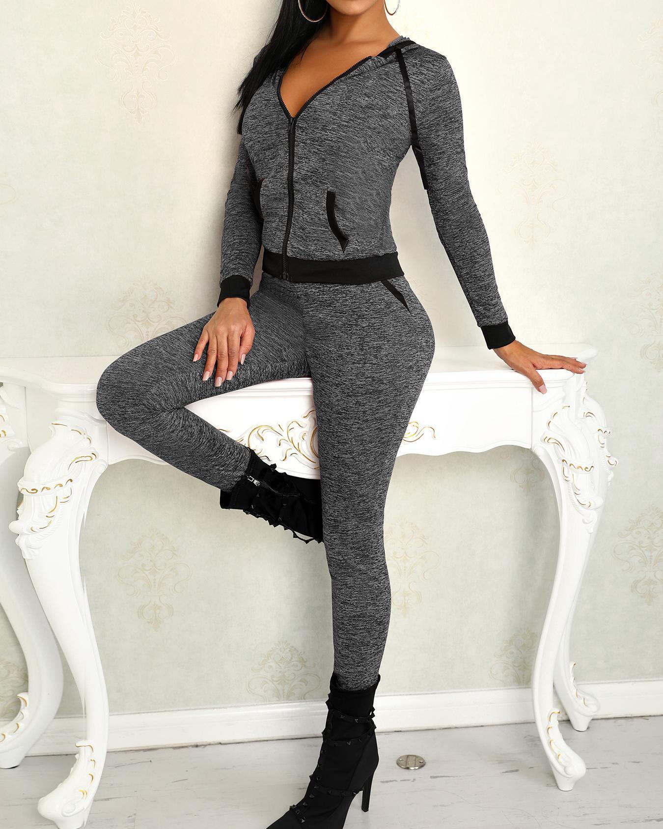 Trendy Zipper Up Vêtements de sport décontractés à capuche