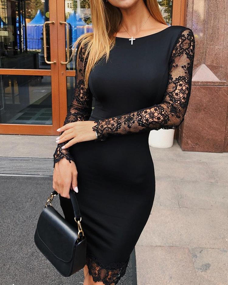 Hollow Out Lace Splicing Bodycon Dress фото