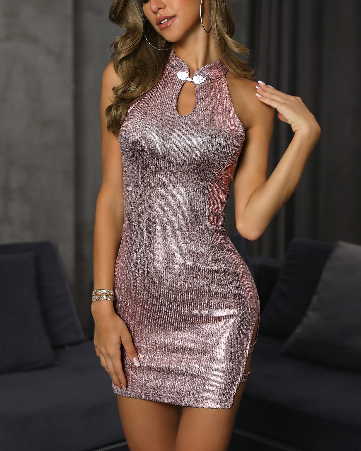 Sleeveless Button Detail Bodycon Dress