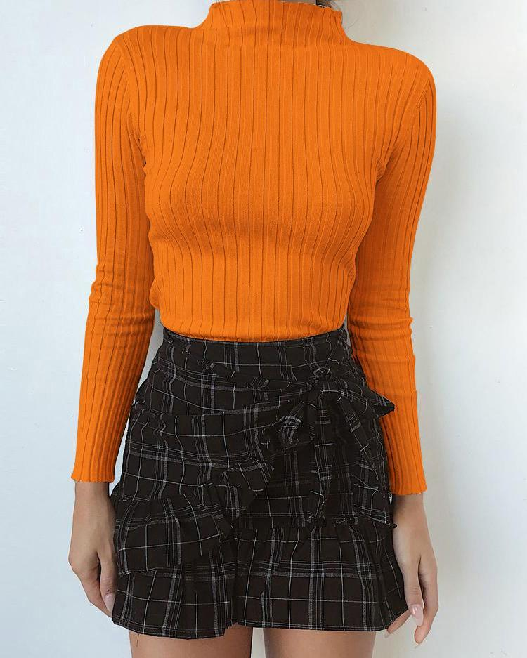 Mock Neck Long Sleeve Basic Pullover Top фото