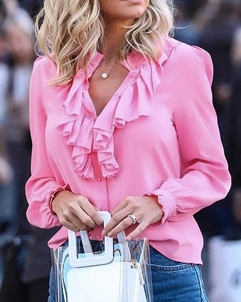 V-Neck Long Sleeve Ruffles Blouse фото