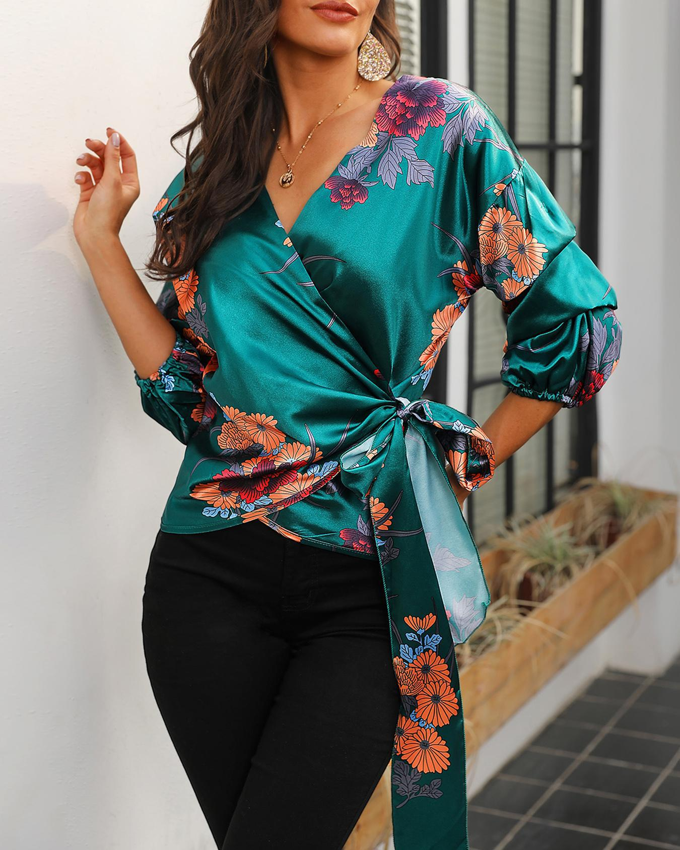 ivrose / Blusa de cintura com estampa floral e nó