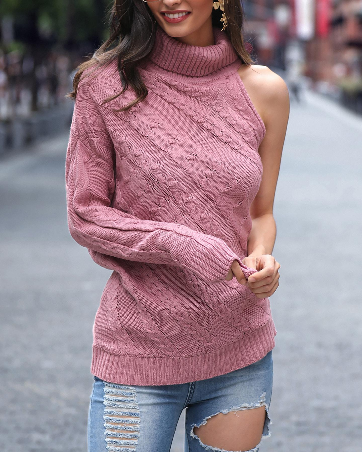 One Shoulder Embroidered Neck Sweater фото