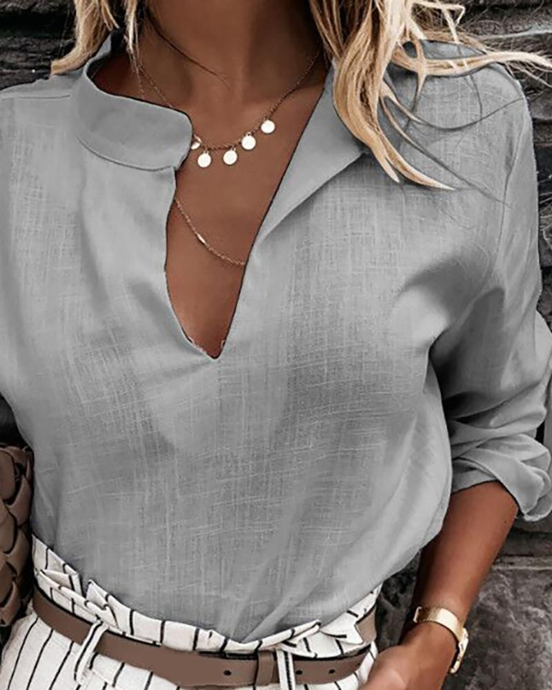 Plunge Solid Long Sleeve Casual Shirt фото