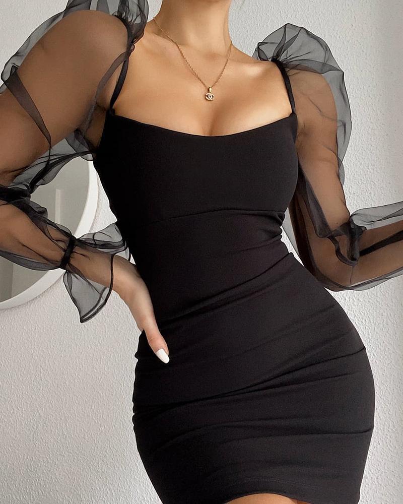 chicme / Vestido de Bodycon com corte baixo de malha de manga folhada