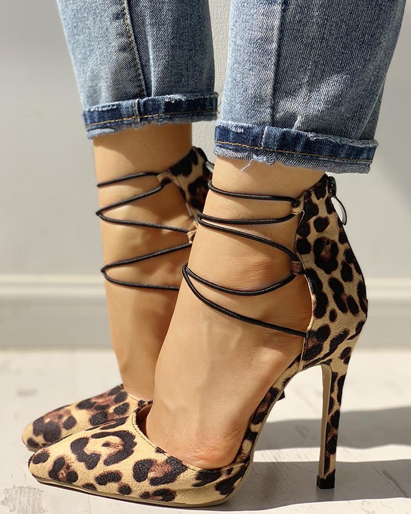joyshoetique / Leopard Print Point Lace-Up Toe Thin Heels