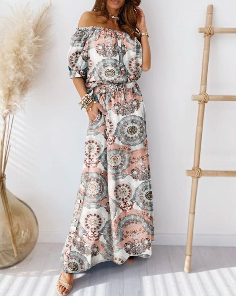 boutiquefeel / Retro Imprimir Off Shoulder Button Top & Maxi Skirt Sets