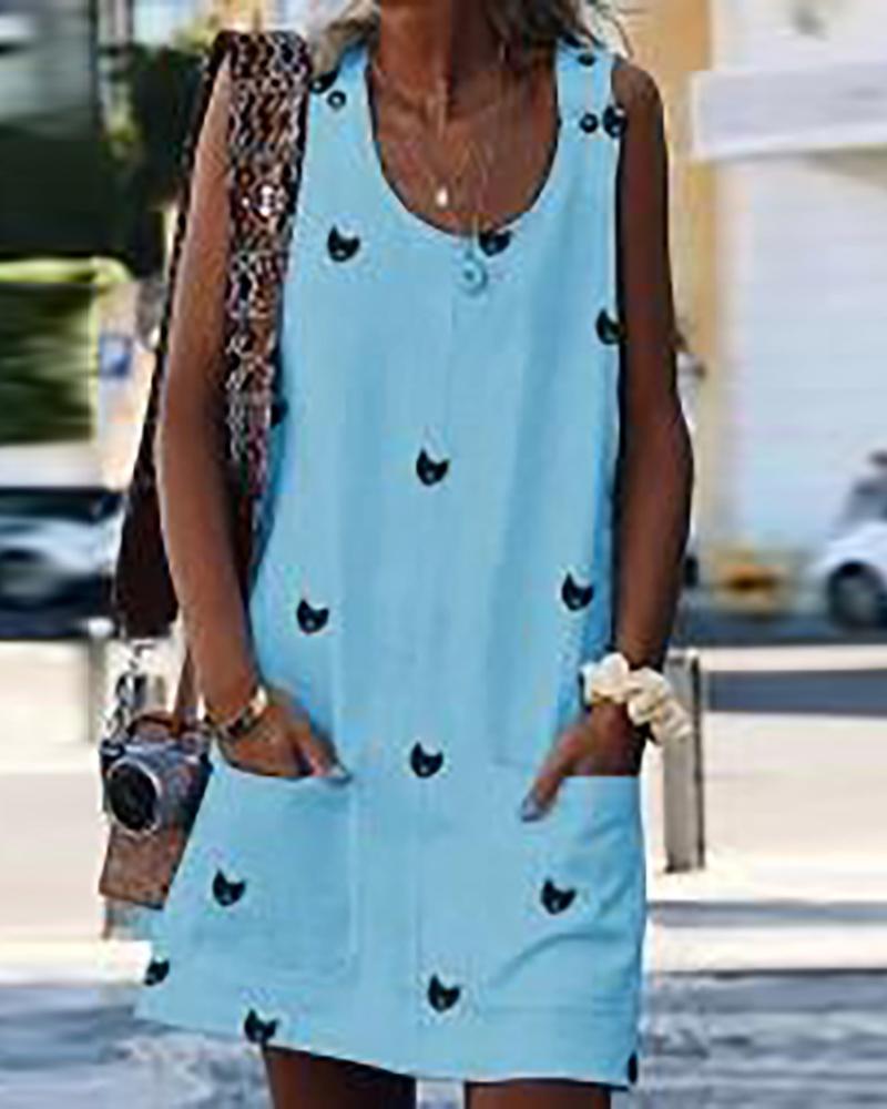 Print button strap dress фото