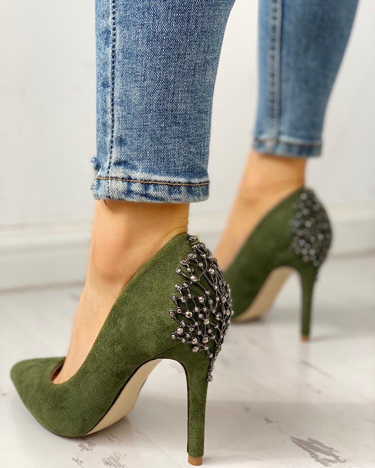 Rivets & Metallic Embellished Pointed Toe Heels