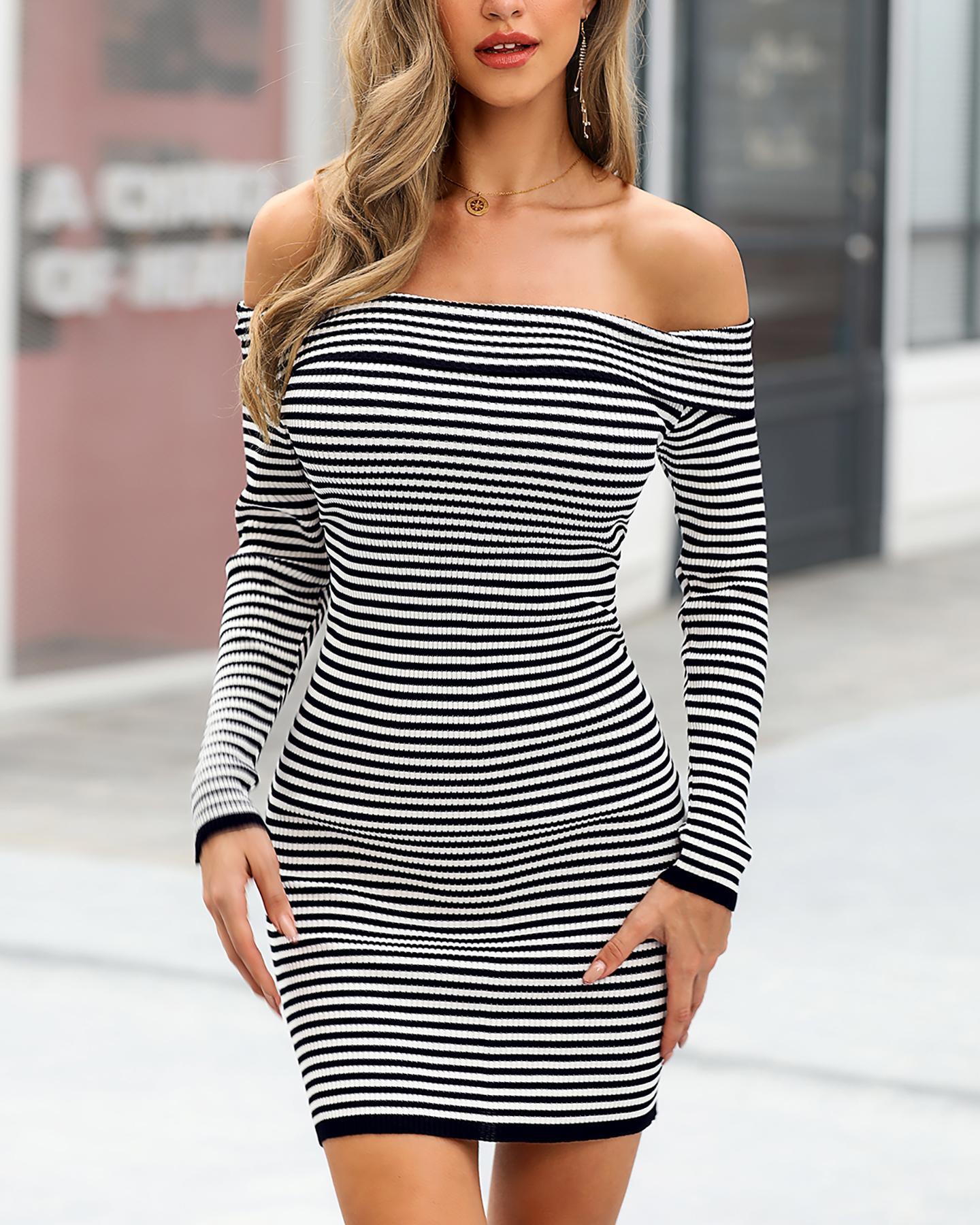 boutiquefeel / Vestido ajustado a rayas con hombros descubiertos