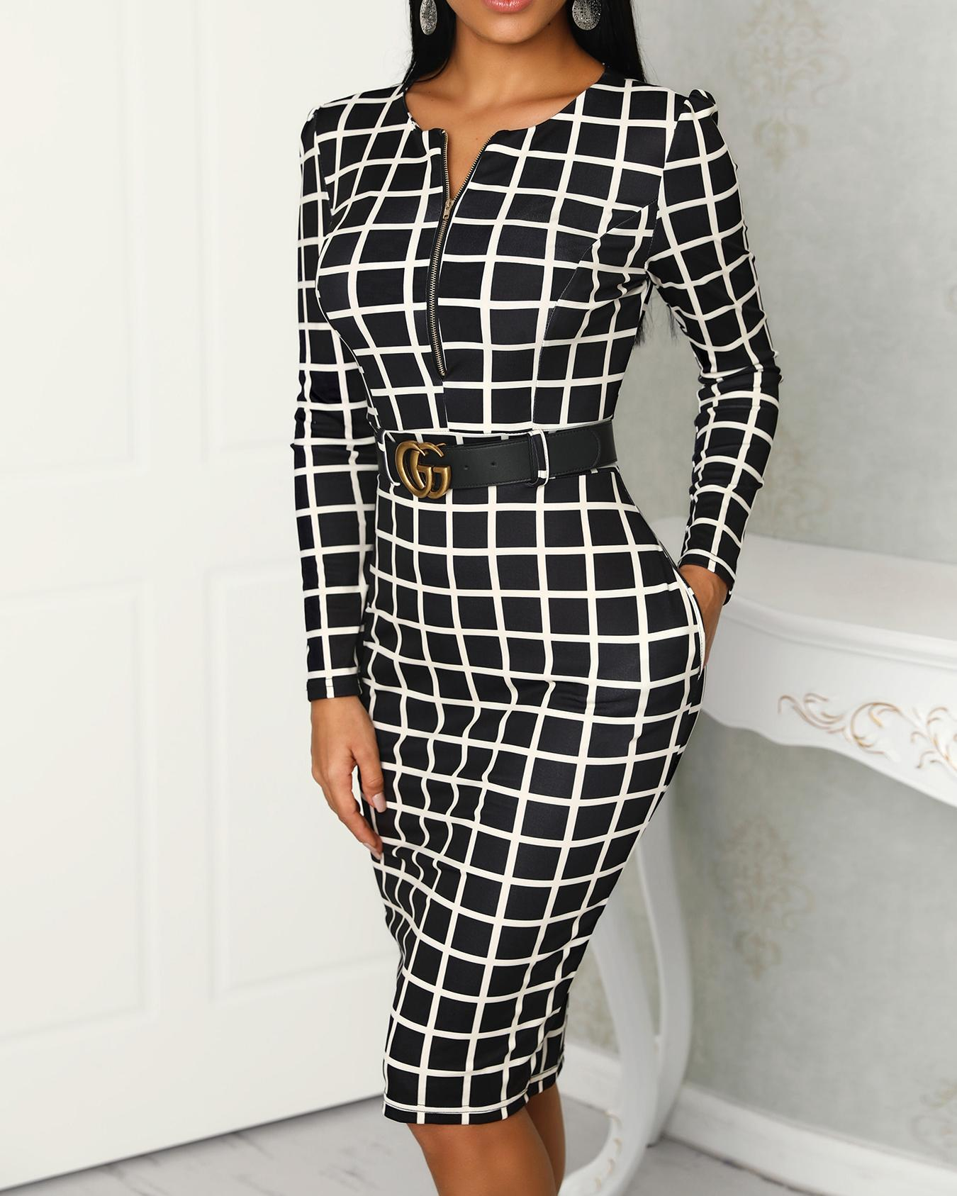 Grid Long Sleeve Zipper Up Belted Dress