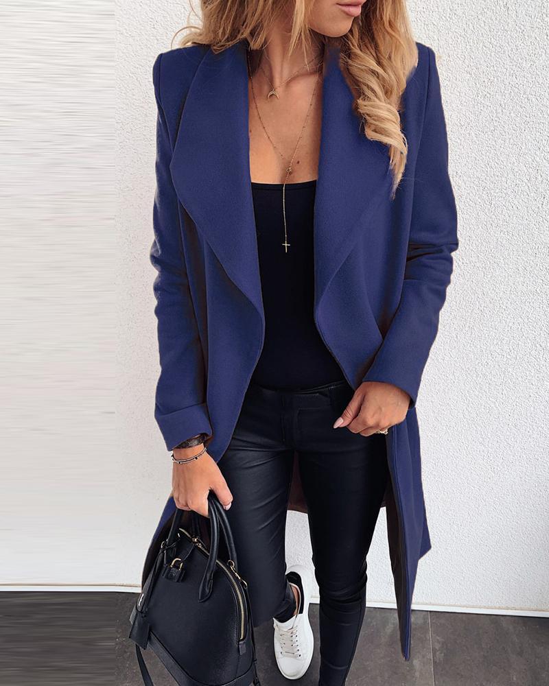 Solid Long Sleeve Casual Longline Coat фото