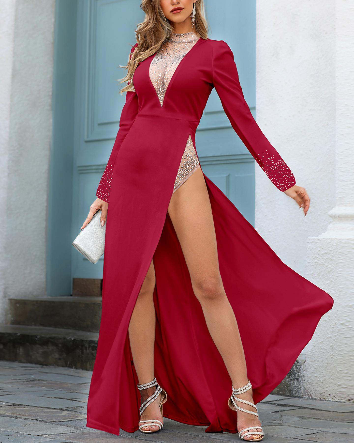 chicme / Hot Stamping Plunge Long Sleeve High Slit Dress