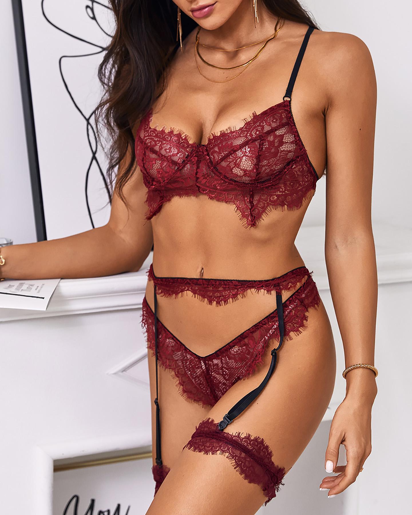 Eyelash Crochet Lace Garter Lingerie Set