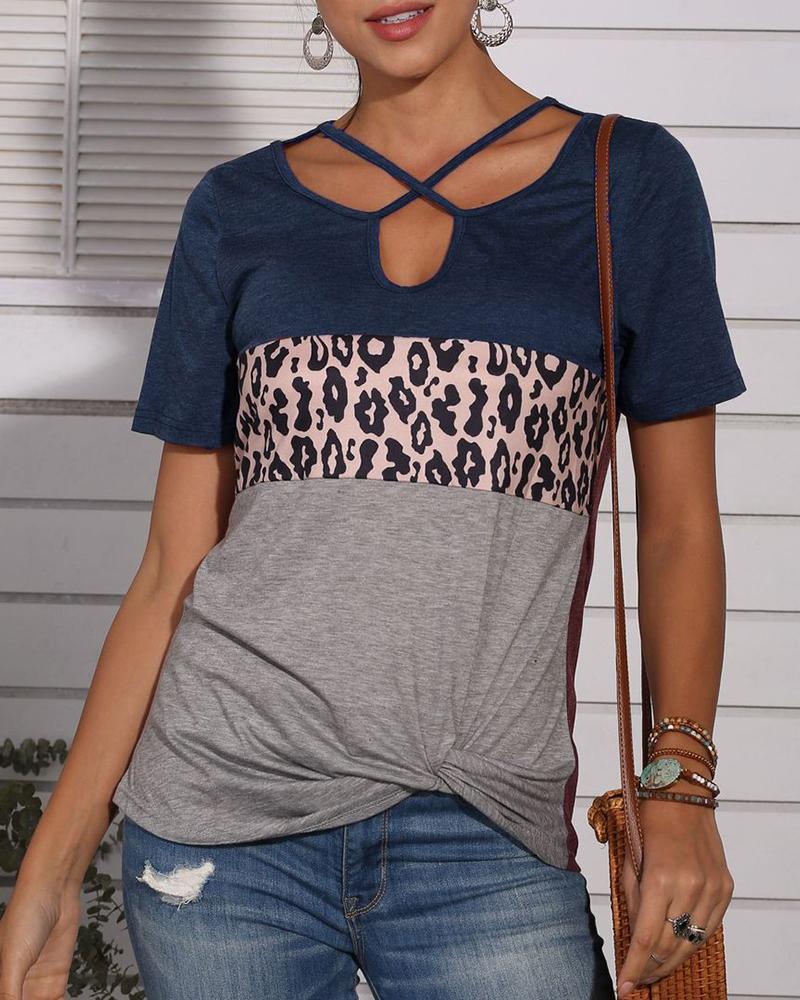 Leopard Print Crisscross Casual T-shirt фото