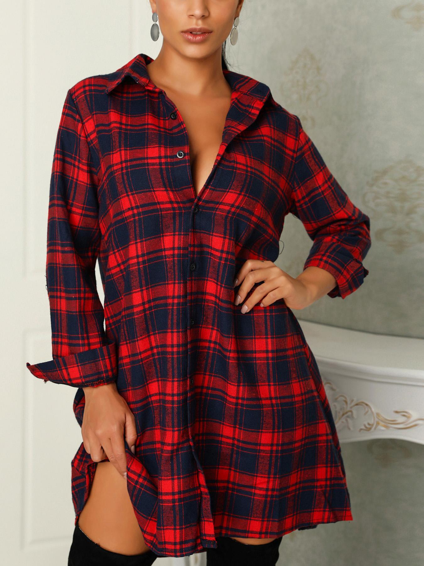 Plaid Deep V Cure Hem Shirt Dress